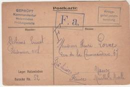 Carte Prisonnier Civil 1915 / Cachet F.A. / Censuré ( Mots Raturés Au Dos) Geprüft Holzminden Allemagne - 1914-18