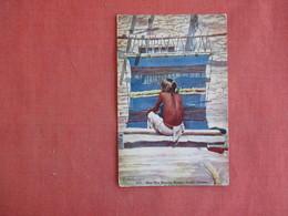 Hopi Man Weaving Blanket  Oraibi AZ.   > Ref 3133 - Native Americans