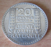 France - Monnaie 20 Francs Turin Argent 1933 Rameaux Longs - SUP+ - France
