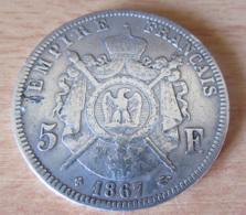 France - Monnaie 5 Francs Napoléon III Tête Laurée 1867 BB En Argent - TB / TTB - France