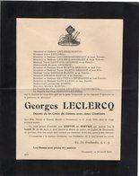 VP14.293  THUMESNIL 1919 - Faire - Part De Décès De Mr Georges LECLERCQ Décoré De La Croix De Guerre Avec Deux Citations - Décès