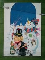 KOV 8-100- New Year, Bonne Annee, Snowman, Bonhomme De Neige, Champagne, Chimney Sweep, Ramoneur - Nouvel An