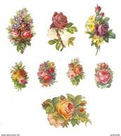 LOT DE 8 CHROMOS DÉCOUPIS FLEUR -  FLOWER - FLOR - FIORE - Fleurs