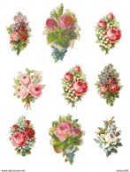 LOT DE 9 CHROMOS DÉCOUPIS FLEUR -  FLOWER - FLOR - FIORE - Fleurs
