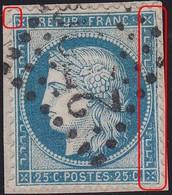 N°60A Variété Suarnet 32 Bien Visible, Position 62G3, TB. Très Belle Retouche Du Pourtour De La Grecque Droite. - 1871-1875 Cérès