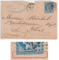 N°60A Sur Grand Fragment Avec Variété Filet Inférieur Dédoublé Et Très Foncé, TB. - 1871-1875 Cérès