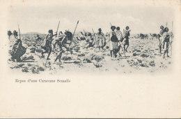 A M 241 /  C P A - DJIBOUTI -  REPOS D'UNE CARAVANE SOMALIS - Gibuti