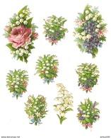 LOT DE 9 CHROMOS DÉCOUPIS FLEUR MUGUET - LILY FLOWER - Fleurs