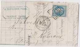 N°29B Sur Lettre, Position 52B2, TB. - 1863-1870 Napoléon III Lauré