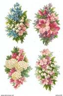 LOT DE 4 CHROMO DÉCOUPIS GAUFRÉ FLEURS - FLOWERS - FIORI - FLORES - - Fleurs
