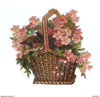 CHROMO DÉCOUPIS CHATON PETIT CHAT DANS UN PANIER FLEUR - SMALL CAT IN A FLOWER BASKET - Animaux