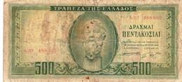 "GREECE 500 Drachmai 1955 P-193a ""SERIES A"" G ""free Shipping Via Registered Air Mail"". - Greece"