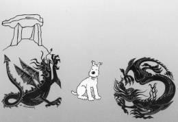 TINTIN ILLUSTRATEUR A ROUSSEY LES DRAGONS AVEC MILOU POUR LE SALON DE DRAGUIGNAN - Comics