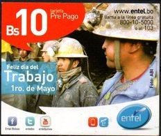 Bolivia 2013 - 20-02-2014 Prepago ENTEL MOVIL. Feliz Día Del Trabajo. 1º De Mayo. Mineros. Foto ABI. - Bolivië