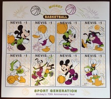 Nevis 1998 Mickey Mouse Disney Basketball Sheetlet MNH - St.Kitts-et-Nevis ( 1983-...)