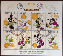 Nevis 1998 Mickey Mouse Disney Basketball Sheetlet VFU - St.Kitts-et-Nevis ( 1983-...)
