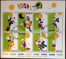 Nevis 1998 Mickey Mouse Disney Basketball Sheetlet VFU - St.Kitts And Nevis ( 1983-...)