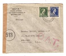 PR6198/ TP 646-642 Léopold Col Ouvert S/L.Avion C.BXL 1945 C.rouge O.A.T.censure Des Communications 513 V.USA - Postmark Collection