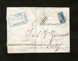 France:1875 Lettre Du Bureau Français De Constantine (Algérie) Pour   Setif Cachet GC 5023 Avec Un-demi N° 60. Rareté - 1871-1875 Cérès