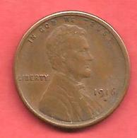 1 Cent , ETATS UNIS , Cuivre , 1916 S , Lincoln - Émissions Fédérales