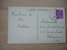 Chateauroux A Montlucon Cachet Ambulant Convoyeur Poste Ferroviaire Sur Lettre - Poststempel (Briefe)