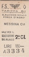 Biglietto Treno - S.Alessio Siculo - Forza D'Agro' / Messina Centrale - Chemins De Fer