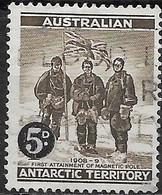 AUSTRALIAN ANTARCTIC TERRITORY 1959 Shackleton Expedition At S. Magnetic Pole, 1909 Surcharged -  5d.on 4d - Black &sepi - Territoire Antarctique Australien (AAT)