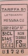 Biglietto Treno - Letoianni / Messina Centrale - Chemins De Fer