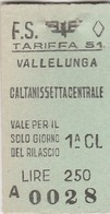 Biglietto Treno - Vallelunga - Caltanissetta Centrale - Chemins De Fer