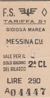 Biglietto Treno - Gioiosa Marea - Messina Centrale - Chemins De Fer