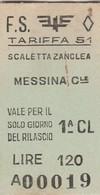 Biglietto Treno - Scaletta Zanclea - Messina Centrale - Chemins De Fer