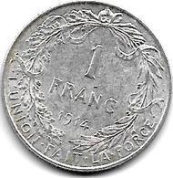 Belguim 1 Franc  Albert I 1914 French   Xf+ - 1909-1934: Albert I