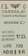 Biglietto Treno - S. Agata Di Militello/Messina Centrale - Chemins De Fer