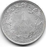 *belguim 1 Frank  Albert I 1914 Dutch  Xf+ - 1909-1934: Albert I
