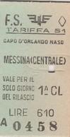 Biglietto Treno - Capo D'Orlando Naso/Messina Centrale - Chemins De Fer