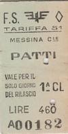 Biglietto Treno - Messina Centrale/ Patti - Chemins De Fer