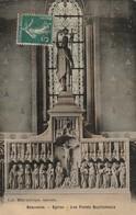 59/ Bauvois - Beauvois -  Eglise Les Fonds Baptismaux  - Carte Toilée Colorisée écrite En 1908 - Frankrijk