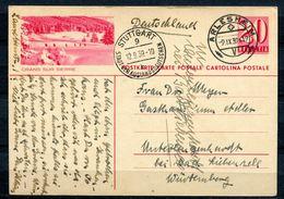 """Schweiz 1939 Bildpostkarte Michel.Nr.P168,20 C""""Crans Sur Sierre""""bef.mit Zensurstempel""""Arlesheim-Stuttgart """"1 GS Used - Entiers Postaux"""