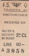Biglietto Treno - Rometta Messinese / Messina Centrale - Chemins De Fer