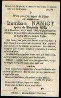 Souvenir Mortuaire NANIOT Lambert (1852-1913) Né Et Mort à BOSSIERES - Images Religieuses