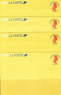 Lot De 4 Enveloppes Type Liberté De Gandon Rouge - Standard Postcards & Stamped On Demand (before 1995)