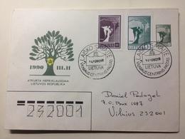 LITHUANIA - 1990 FDC Litauen,Lietuva - Freidensengel - Laisko Savaite Handstamp - Lithuania