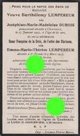 Charneux 1917 Vve Barthélemy Lempereur Née Joséphine Dubois + Soeur Françoise De La Croix Imprimé à Herve - Décès