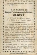 Souvenir Mortuaire OLBERT Léonce (1904-1906) Né Et Mort à JUMET - Images Religieuses