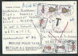 Carte Postale Avec Double Taxe à 4,70 Francs Car Refusé Par Le Destinataire. Oblitération Rouge De Nîmes . Série Insecte - Taxes