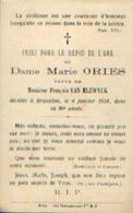 Souvenir Mortuaire ORIES Marie (1830-1916)Vve VAN ELEWYCK, F. Morte à BRUXELLES - Images Religieuses