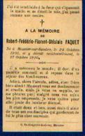 Souvenir Mortuaire PAQUET Robert (1905-1910) Né Et Mort à MOUSTIER-SUR-SAMBRE - Images Religieuses