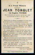 Souvenir Mortuaire PATRON Eugénie (1849-1923) ép. TONGLET, J. Née Et Morte à MOUSTIER-SUR-SAMBRE - Images Religieuses