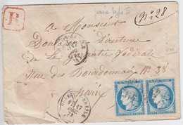 N°60B Paire Enveloppe Recommandée, Blangy S Bresle (74), 17 Décembre 73, Sans Doute 1er Jour De La Planche 5 , TB RRRRRR - 1871-1875 Cérès