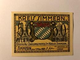 Allemagne Notgeld Simmern 50 Pfennig - [ 3] 1918-1933 : République De Weimar
